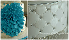 Quinceanera Detail (Christina's Dessertery) Tags: blue party white flower cake silver sweet teal border feathers northcarolina 15 diamond 16 bling jewel broach quinceanera fondant frill christinajohnson dragees mascuerade creativecakedesigns fancydiamondquilting