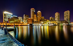 Boston Harbor Skyline from Fan Pier in South Boston (tobyharriman) Tags: pictures ocean city longexposure sea boston skyline night clouds canon photography bay harbor cityscape massachusetts smooth scenic newengland prints scape southboston 2012 roweswharfboston bostonharborskyline tobyharriman fanpierplaza sbayharbortrail