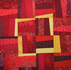 Block for Linda 2 (jenjohnston) Tags: red yellow wonky quiltblock quiltingbee