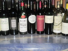 Some of the wines tasted during dinner