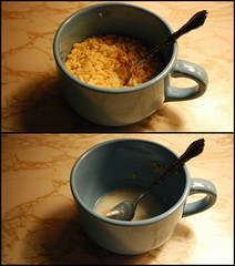 288/366 (a.n.decker photography) Tags: lighting morning light shadow food kitchen early milk nikon rice coffeecup empty cereal august spoon bowl before full after ricekrispies krispies snapcracklepop nikond60 andecker