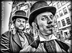 Fringe2012 - Morgan and West, Victorian Entertainers, High Street, Royal Mile,Edinburgh City, Scotland, UK (Hotpix [LRPS] Hanx for 1.5M Views) Tags: street city uk bw white black west men strange face festival tattoo hair beard mono scotland couple edinburgh shot sinister extreme capital victorian august fringe streetscene moustache streetperformer busker morgan mustache scotia bandw scenes facial magicians hdr gents 2012 waxed ecosse hotpix tonysmith monohdr festival2012 fringe2012 2012fringe