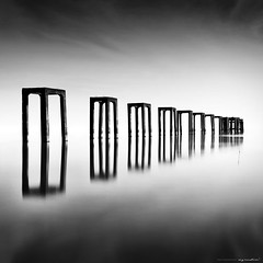 pillars (azrudin) Tags: travel bridge light sea sky panorama cloud sun reflection beach nature water silhouette stone architecture sunrise square landscape island photography mirror blackwhite still nikon slow jetty tokina1224 squareformat malaysia slowshutter minimalist scapes kelantan longexposures tumpat bw110 sifoocom d7000 bw1000 azrudin jubakarpantai