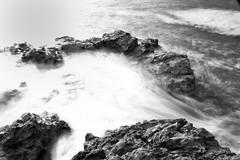 Bracelet Bay Rocks 2 (dean.cummings) Tags: uk longexposure sea sky blackandwhite white black swansea wales nikon rocks waves mumbles nikkor swanseabay niksoftware d7000