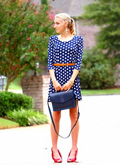 Spot On2 (Thedrawingmannequin) Tags: fashion vintage dress navy polkadots purse anchor heels redheels polkadotdress vintagepurse fashionblogger anchorbelt