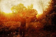 _DSC9643 (Debbie Prediger Photography) Tags: autumn trees boy sunset orange canada man forest photography bright hunting alberta hunter debbie archery grown bowhunting cadogan prediger bowhunter