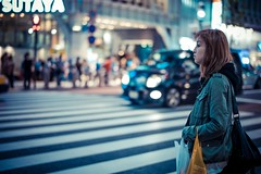 (laffaff) Tags: tokyo shibuya japan japon street candid girl woman waiting crossing xing wait lights bokeh traffic commute car f14 50mm leica m9 tokio mya night nacht nuit city metropolis japanese japanisch japaner rangefinder 2012 travel