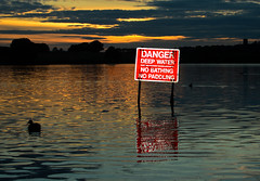 Danger Deep Water (stumpyheaton) Tags: sunset water danger duck nickon pickmere d5100