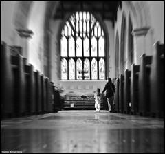 St. Mary's Church (Steve Denny) Tags: uk people blackandwhite bw building church sony rye alter eastsussex stmaryschurch a300 stainglasswindow