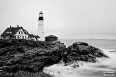 Fogged In B&W (Tim Grimmel) Tags: ocean lighthouse seascape rain fog landscape fineart portlandheadlight capeelizabeth timgrimmelphotography