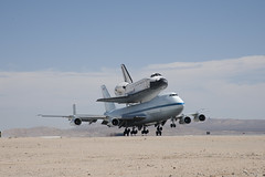 Endeavour Atop SCA Lands At Edwards (ED12-0316-03) (NASA HQ PHOTO) Tags: ca usa nasa edwards spaceshuttle flyover edwardsairforcebase jimross 747shuttlecarrieraircraftsca drydenflightresearchcenterendeavour