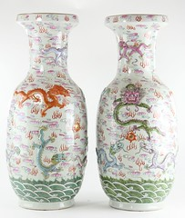 91. Fine Pair of Raised Decoration Vases