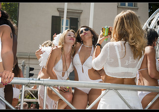 Promotional Models in Zurich Street Parade 2012.No.5626.