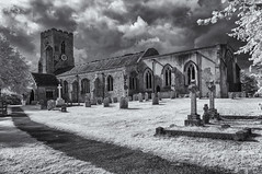 Road to salvation, church of St Peter and St Paul, Kedington, Suffolk (David Feuerhelm) Tags: nikkor church tower building graveyard monochrome bw contrast clouds infrared wideangle suffolk england nikon d90