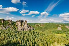 Die Basteifelsen - The Bastei Rocks (ralfkai41) Tags: landscape landschaft nature felsen mountains berge outdoor saxonia natur schsicheschweiz bume trees walf elbsandsteingebirge sachsen forest bastei saxonswitzerland woods rocks