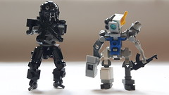 Marvelous Mechanical Men (BadHandle) Tags: lego mech scifi cyberpunk hardsuit drone
