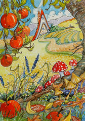 Autumn Colors Storybook Cottage series Autumn watercolor (cottagelover1953) Tags: storybook cottage autumn apples mushroom landscape whimsical redroofcottagedeco retro watercolor