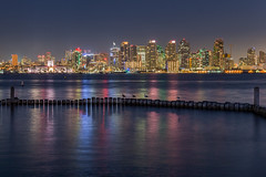 San Diego (Bob Kirschke) Tags: sandiego bobkirschke nightphotography colors night longexposure seagulls pier citylights