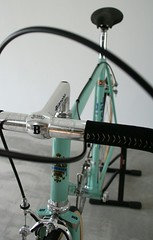 """9 months ago I bought a frame.  It turned out to be a Bianchi Supercorsa from 1982. It had been repainted a few times. I didn't really care for the """"Toys R Us"""" theme so I stripped it clean only to find out the chrome was in """"bad-ish"""" condition.  Only the (hartsneralbin) Tags: steelvintagebike or7 pantograph mavic specialoro supercorsa bikestagram oro builtfromscratchsvb portacatena campagnolo superrecord evereatchain steelisreal everest bikeporn instabike freewheel alloy engraved competizione bikelife steelbike chrome specialissima 3ttt celeste bianchi gold"""