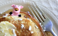 Pig In A Blanket (thereeljames) Tags: lego pancake pancakes holiday legophotography legopics legos toys toyphotography toy minifigure minifig legocmf photography