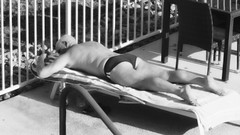 Beautiful View From the Patio of John Suntanning (Blue Rave) Tags: bloke dude guy male mate people back backside pool speedo speedos bw blackandwhite candid candidphotos candidshots legs thighs sexy feet stud suntanning peaceful athletic relaxing sunbathing 2016