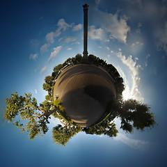 Putbus, Circus (Sven Grard (lichtkunstfoto.de)) Tags: putbus circus pano panorama kugel little planet sphere ostsee rgen sonne sun clouds wolken blue sky himmel stadt denkmal sule platz city park