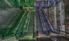 Blue or Green (handmiles) Tags: colour hdr green blue stairs escalators london bishopsgate up down glass architecture building indoor inside openhouse opencity sony sonya77mark2 sonya77m2 tamron tamron18200mm mileshandphotography2016 blur movement longexposure
