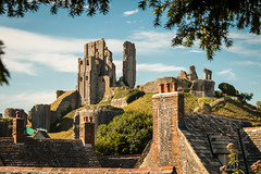 Corfe Castle (Keith in Exeter) Tags: corfe castle ruins hill fort stone building architecture yew tree roof chimney town landscape outdoor
