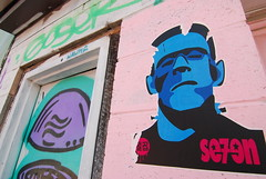 FrankenSe7en (battlebran) Tags: seven frankenstein graff graffiti streetart wheatpaste awesomeness toronto queen colouralley