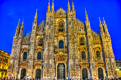 Duomo di Milano - Milan Cathedral at Night - Milan Italy (mbell1975) Tags: santa blue italy milan church night lights evening europe italia cathedral dusk maria dom basilica milano kirche chapel di duomo lombardia cattedrale nascente kirke kapelle mailand mailnder
