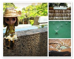 Cowgirl at the water gardens (mademoiselleblythe) Tags: water fleur gardens doll texas blythe cowgirl custom visiting fortworth 2012 happibug blythecon