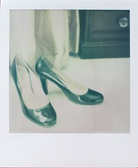 Black Patent (Lizzie Staley) Tags: camera film table polaroid sx70 high shoes dressing drawer heels patent fadetoblack roidweek12