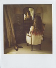 (Lizzie Staley) Tags: red portrait brown colour reflection film hair table polaroid mirror bedroom beige chair shoes cream dressing instant curtains taupe 779 supercolor670af dipdye