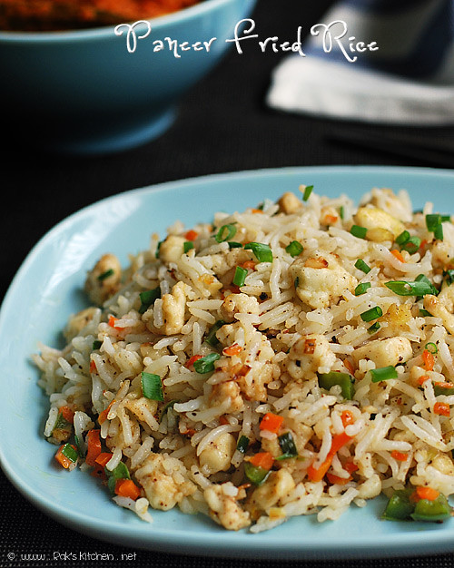 Indian style fried rice with paneer