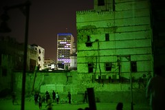 Night Photography: Children playing football in an empty lot in Jeddah's Historic District (talalbakr25) Tags: leica nightphotography jeddah historicdistrict jiddah