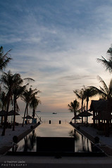 Quiet Morning (Timalot) Tags: blue orange water pool sunrise boat resort vietnam hoian oceran