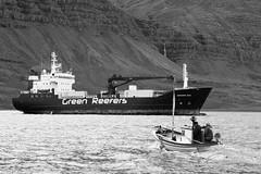 Helga-Green Ice-BW (Valur Bjrn Lnberg) Tags: ocean canon coast iceland fishing sailing ship sigma cargo fishingboat 30d cargoship fishingship inspiredbyiceland