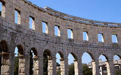 Croatian Colosseum (little_frank) Tags: old sky detail building art history monument beautiful beauty vertical stone wall architecture standing giant wonder site big high construction ancient ruins perfect europe arch place hole symbol roman geometry interior great wide amphitheatre large croatia style landmark icon symmetry architectural colosseum stunning huge historical strong inside column curve shape pillars past iconic archeology remains pola impressive romanempire perfection timeless imposing eternal monumental istria verticality antiquity architectonic edifice everlasting vespasian ancientrome flavianamphitheatre pulaarena imponence imperialera