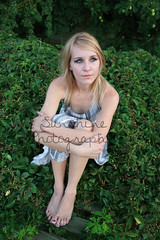 Knees (Sammi Sunshine) Tags: blue woman girl beautiful vines arms bright body blueeyes teen blond grapes teenager barefeet hayden blondehair bushes bree blackeyemakeup