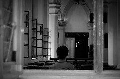 believe | Hong Kong, August 2012. (Bol-de-riz) Tags: door travel blackandwhite bw white man black church window bench photography photo nice model nikon holidays noir noiretblanc prayer band picture pic nb blanc zhongwen eglise zhongguo whitenoir nikond5100 zhongduo