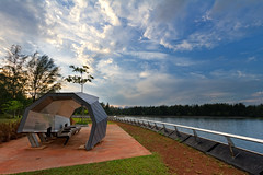 Punggol Reservoir (Singapore) (spintheday) Tags: blue cloud tree water relax cycling evening singapore estate view seat greenery resting shelter jogging canonefs1022mmf3545usm recreationpark punggolreservoir punggolwaterwaypark
