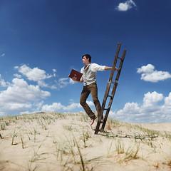 The search begins. (David Talley) Tags: summer sky hot clouds book sand desert dunes mojave heat ladder sanddunes mojavedesert alexstoddard