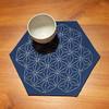 Hemp leaf sashiko table centre (sharlenejm) Tags: blueandwhite sharlene sashiko madeit japaneseembroidery japanesecountry australiacraft sharlzndollz bluestitchery hempleafcraft