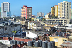 Dar Skyline (roevin | Urban Capture) Tags: street city blue sky urban water colors tanzania colorful downtown cityscape chaos afternoon view skyscrapers district daressalaam center midtown highrise blocks residential tanks citscape