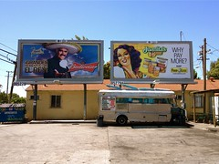 Vincente and Juanita (misterbigidea) Tags: street city signs building art cooking beer sign yellow truck menu landscape lunch restaurant coach view outdoor parking lot lunchtime billboard business taco meal bonita parked hungry sombrero roach budweiser stockton taqueria juanita burrito hombre senorita mealsonwheels food4less waitingforcustomers whypaymore vincentefernandez