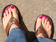Wife painted them... (toepaintguy) Tags: pink man men guy feet foot toes paint toe nail gray polish manicure pedicure toenails toenail lacquer