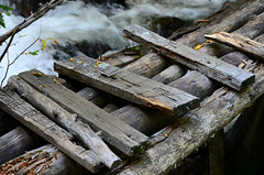 Foot Bridge (Colorado Sands) Tags: wood bridge usa america us wooden colorado unitedstates footbridge rustic logs bridges worn weathered rockymountains rough amerika lumber crude unstable nailed sandraleidholdt bridgeovertroubledwaters leidholdt sandyleidholdt