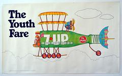"1971 60""x36"" 7Up UnCola ""The Youth Fare"" (bi-plane) vintage poster by Bob Taylor #7Upvintage (btreat) Tags: art illustration vintage advertising poster 1971 retro billboard advertisement popart soda 7up softdrinks lithograph uncola madmen bobtaylor billboardposter pushpinstudio vintagebillboard 1960sadvertising offsetlithograph theyouthfare vintagebillboardposter 7upvintage"