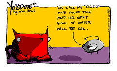 """call me r2d2"" - a Yo & Dude comic by eric Hews  2012 (eric Hews) Tags: copyright dog water television illustration cat warning fun star virginia robot george funny eric artist comic drawing threatening yo humor cartoon emo creative culture funnies lucasfilm philosophy pop richmond dude lucas strip r2d2 oil writer comicstrip mean illustrator haha wars toon simple behavior society threat droid 2012 psychology insult hews yodude erichewscom yoanddude erichews yoanddudecom yodude 2012erichews ennuizle"