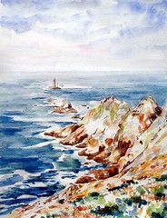 Atlantic (Annette Henbery) Tags: sea lighthouse seascape france water painting point coast brittany north bretagne coastal land watercolour coastline northern beacon rugged